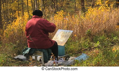 painter - autumn park and painter