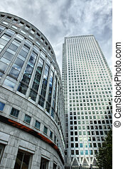 Canary Wharf financial district buildings in London. -...