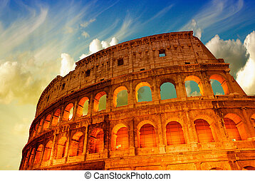 Beautiful dramatic sky over Colosseum in Rome.