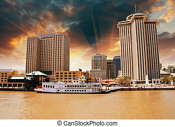 Skycrapers of New Orleans with Mississippi River, Louisiana