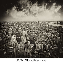 Skyscrapers of New York City - Manhattan, Aerial view