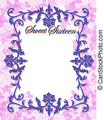Sweet 16 Invitation - Illustration for ornamental frame,...
