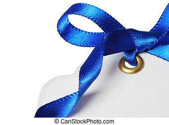 Price Tag with Blue Ribbon on White Background