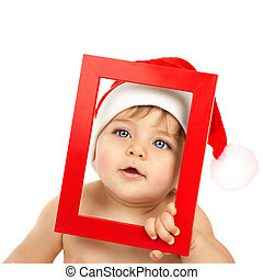 Adorable kid celebrate Christmas - Image of adorable kid...