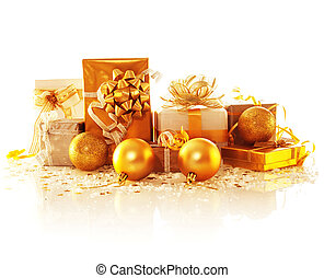 Golden gift boxes - Image of golden gift boxes isolated on...