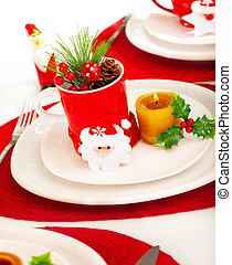 Christmastime table setting - Photo of beautiful...