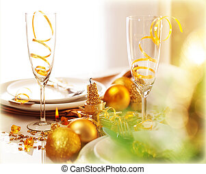 New Year dinner - Image of beautiful decorated New Year...