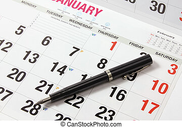 Fountain Pen on Calendar
