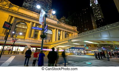 Traffic near Grand Central Terminal - Evening traffic near...
