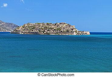 Spinalonga fortress at Crete island - Spinalonga island and...