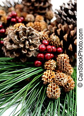 Pine Cones and Holly Berries - Beautiful xmas arrangement of...
