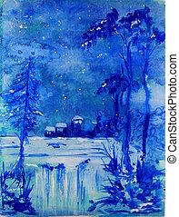 Blue Christmas Landscape