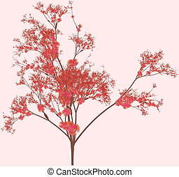 Cherry Blossom Tree in a Pink Background
