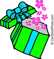 Opened gift box with flower