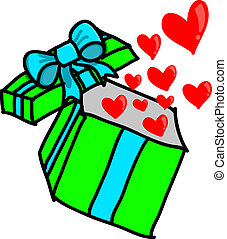 Opened colorful gift box with heart