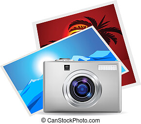 Realistic digital camera and photos. Illustration on white...