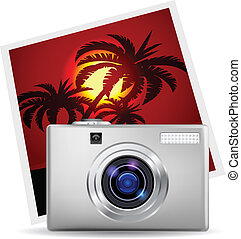 Realistic digital camera and photo Illustration on white...