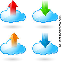 Cloud computing - Set of Cloud with Arrows Illustration on...
