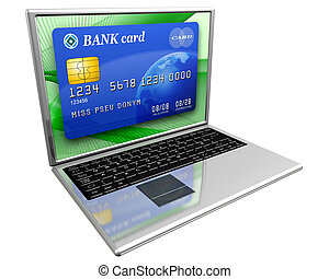 Internet banking - Isolated illustration of a laptop with a...