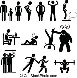 Thin Slim Skinny Weak Man - A set of pictogram representing...