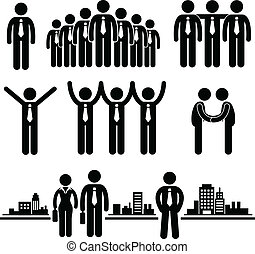 Business Businessman Group Worker - A set of pictogram...