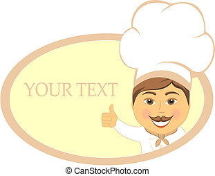 restaurant sign with smile cook showing thumb up and place...