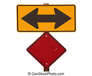 Two Way Arrow Road Sign