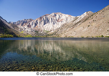 Convict Lake - Laurel Mountain reflected in Convict Lake in...