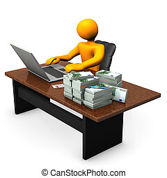 Trader - Orange cartoon character with laptop and euro...
