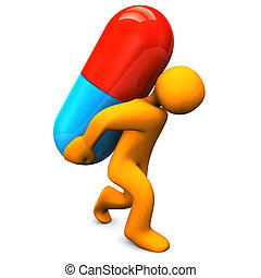 Pills Burden - Orange cartoon character with big pill White...