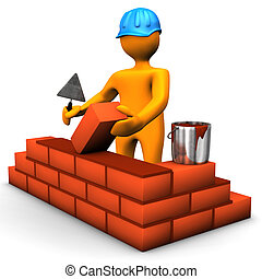 Building Worker - Building worker with blue helmet and brown...