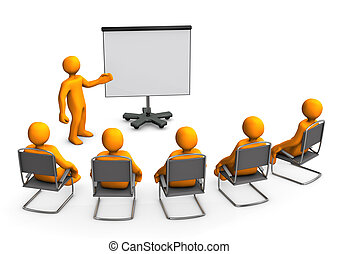 Lecture Flipchart - Orange cartoon characters sit in on a...