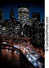 Manhattan and FDR drive at night