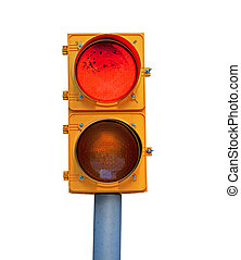 red traffic light - Natrural dirty red traffic light...