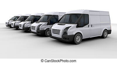 Fleet of delivery vans - 3D render of a fleet of delivery...