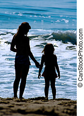 Mother & Daughter Beach Silhouette