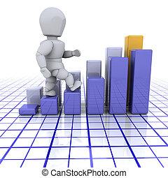 Success - 3D render of someone climbing up a bar chart