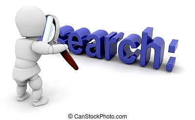 Searching - 3D render of someone looking through a...