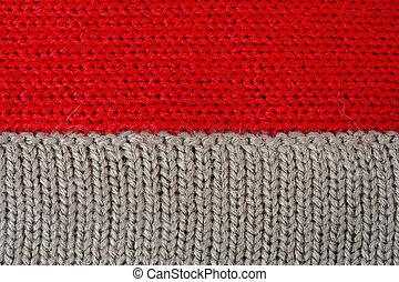 gris, lana, tejido de punto, rojo