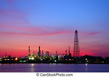 oil refinery plant - Petrochemical industry at twilight,...