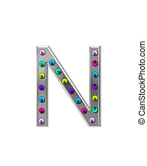 Alphabet Metal Marquee N - The letter N, in the alphabet set...