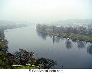 Vltava River from Vysehrad, Prague - View of Vltava River...