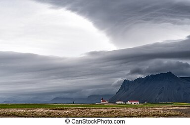 Snaefellsnes, Iceland - Dramatic clouds over Snaefellsnes in...