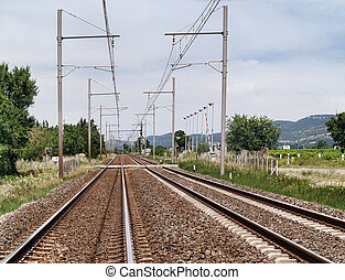 Railroad - Railway lines in a rural area on summer day