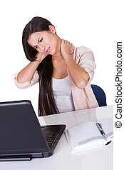 Woman with a stiff neck - Attractive business woman with a...