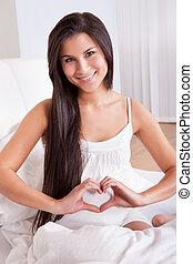 corazón, mujer, señal, Elaboración, embarazada