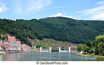 View of a German town from the Neckar river - View of a...