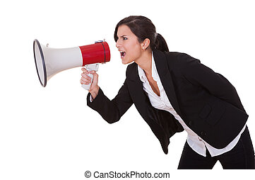 Woman shouts through a megaphone Studio shot over white