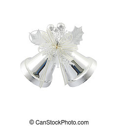 Couple silver Christmas bells on white background