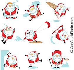Extreme Santa - Cartoon extreme Santa set 2. EPS 10....